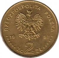 obverse of 2 Złote - Stefan Batory (1997) coin with Y# 325 from Poland. Inscription: RZECZPOSPOLITA POLSKA 1997 ZŁ 2 ZŁ