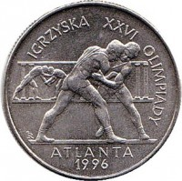 reverse of 2 Złote - Olympic Games Atlanta 1996 (1995) coin with Y# 303 from Poland. Inscription: IGRZYSKA WWVI OLIMPIADY ATLANTA 1996