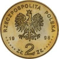 obverse of 2 Złote - Adam Mickiewicz (1998) coin with Y# 352 from Poland. Inscription: RZECZPOSPOLITA POLSKA 1998 ZŁ 2 ZŁ