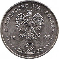 obverse of 2 Złote - Battle of Warsaw (1995) coin with Y# 297 from Poland. Inscription: RZECZPOSPOLITA POLSKA 19 95 ZŁ 2 ZŁ