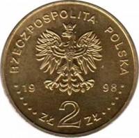 obverse of 2 Złote - Stag Beetle (1997) coin with Y# 329 from Poland. Inscription: RZECZPOSPILTA POLSKA 1997 ZŁ 2 ZŁ