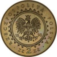 obverse of 2 Złote - Castle in Kornik (1998) coin with Y# 347 from Poland. Inscription: RZECZPOSPOLITA POLSKA 1998 ZŁ 2 ZŁ
