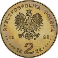 obverse of 2 Złote - Regaining of Independence (1998) coin with Y# 349 from Poland. Inscription: RZECZPOSPOLITA POLSKA 1998 ZŁ 2 ZŁ