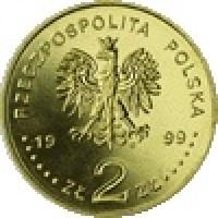 obverse of 2 Złote - Fryderyk Chopin (1999) coin with Y# 365 from Poland. Inscription: RZECZPOSPOLITA POLSKA 1999 ZŁ 2 ZŁ