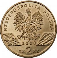 obverse of 2 Złote - European Eels (2003) coin with Y# 445 from Poland. Inscription: RZECZPOSPOLITA POLSKA 2003 ZŁ 2 ZŁ