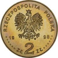 obverse of 2 Złote - Zygmunt III Waza (1998) coin with Y# 336 from Poland. Inscription: RZECZPOSPOLITA POLSKA 1998 ZŁ 2 ZŁ