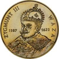 reverse of 2 Złote - Zygmunt III Waza (1998) coin with Y# 336 from Poland. Inscription: ZYGMUNT III WAZA 1587 1632