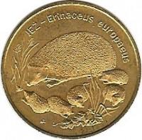 reverse of 2 Złote - Hedgehog (1996) coin with Y# 311 from Poland. Inscription: JEŻ - Erinaceus europaeus