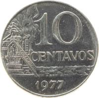 reverse of 10 Centavos (1974 - 1979) coin with KM# 578.1a from Brazil. Inscription: 10 CENTAVOS 1974