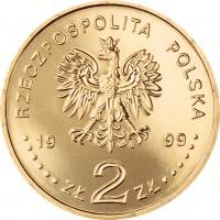 obverse of 2 Złote - Joining NATO (1999) coin with Y# 357 from Poland. Inscription: RZECZPOSPOLITA POLSKA 1999 ZŁ 2 ZŁ