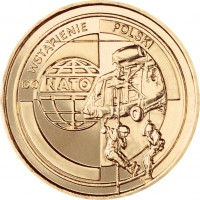 reverse of 2 Złote - Joining NATO (1999) coin with Y# 357 from Poland. Inscription: DO WSTĄPIENIE POLSKI NATO