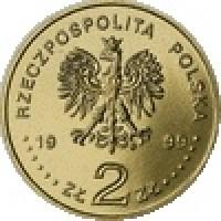 obverse of 2 Złote - Juliusz Slowacki (1999) coin with Y# 356 from Poland. Inscription: RZECZPOSTOLITA POLSKA 19 99 ZŁ 2 ZŁ