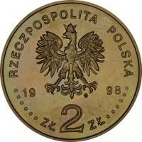obverse of 2 Złote - Radium and Polonium (1998) coin with Y# 344 from Poland. Inscription: RZECZPOSPOLITA POLSKA 19 98 ZŁ 2 ZŁ