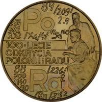reverse of 2 Złote - Radium and Polonium (1998) coin with Y# 344 from Poland. Inscription: 100 LECIE ODKRYCIA POLONIU i RADU