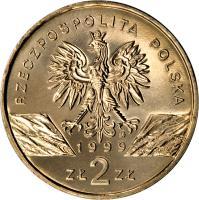 obverse of 2 Złote - Wolves (1999) coin with Y# 355 from Poland. Inscription: RZECZPOSPOLITA POLSKA 1999 ZŁ 2 ZŁ