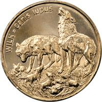 reverse of 2 Złote - Wolves (1999) coin with Y# 355 from Poland. Inscription: WILK - Canis lupus