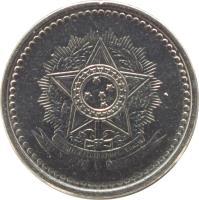 obverse of 10 Centavos (1986 - 1988) coin with KM# 602 from Brazil. Inscription: REPUBLICA FEDERATIVA DO BRASIL 15 de Novembro de 1889