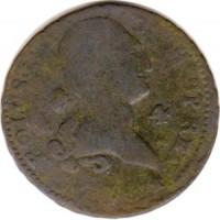 obverse of 4 Maravedis - Carlos III (1770 - 1788) coin with KM# 407 from Spain. Inscription: CAROLUS III. D.G.HISP.REX - 1784