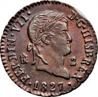 obverse of 2 Maravedis - Fernando VII - Segovia (1816 - 1833) coin with KM# 487 from Spain. Inscription: FERDIN · VII · D · G · HISP · REX 2 · 1 8 2 2 ·
