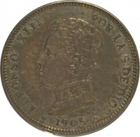 obverse of 2 Pesetas - Alfonso XIII (1905) coin with KM# 725 from Spain. Inscription: ALFONSO XIII POR LA G. DE DIOS *1905*