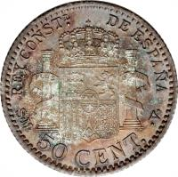 reverse of 50 Centimos - Alfonso XIII - 3'rd Portrait (1896 - 1900) coin with KM# 705 from Spain. Inscription: REY CONSTL. DE ESPAÑA S · M · 50 CENT. · V ·
