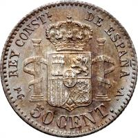 reverse of 50 Centimos - Alfonso XIII - 2'nd Portrait (1894) coin with KM# 703 from Spain. Inscription: REY CONSTL. DE ESPAÑA P · G · 50 CENT. · V ·