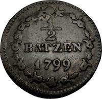 reverse of 1/2 Batzen (1799 - 1803) coin with KM# A6 from Switzerland. Inscription: ½ BATZEN 1799