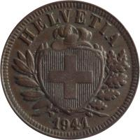 obverse of 2 Rappen (1850 - 1941) coin with KM# 4 from Switzerland. Inscription: HELVETIA 1850