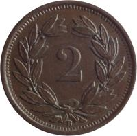 reverse of 2 Rappen (1850 - 1941) coin with KM# 4 from Switzerland. Inscription: 2