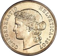 obverse of 5 Francs (1888 - 1916) coin with KM# 34 from Switzerland. Inscription: CONFOEDERATIO HELVETICA * 1889