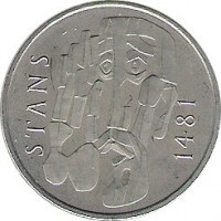 obverse of 5 Francs - Stans Convention (1981) coin with KM# 60 from Switzerland. Inscription: STANS 1481