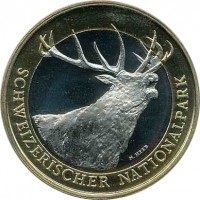 obverse of 10 Francs - Red Deer (2009) coin with KM# 130 from Switzerland. Inscription: SCHWEIZERISCHER NATIONALPARK