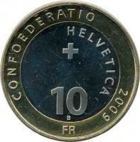 reverse of 10 Francs - Red Deer (2009) coin with KM# 130 from Switzerland. Inscription: CONFOEDERATIO HELVETICA 2009 10 B FR