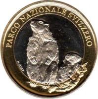 obverse of 10 Francs - Alpine Marmot (2010) coin with KM# 134 from Switzerland. Inscription: PARCO NAZIONALE SVIZZERO