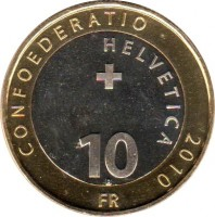 reverse of 10 Francs - Alpine Marmot (2010) coin with KM# 134 from Switzerland. Inscription: CONFOEDERATIO HELVETICA 2010 10 B FR