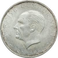 obverse of 10 Lira - 27th May Revolution (1960) coin with KM# 894 from Turkey.