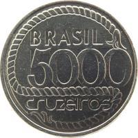 obverse of 5000 Cruzeiros - Tiradentes' Death (1992) coin with KM# 625 from Brazil. Inscription: BRASIL 5000 CRUZEIROS