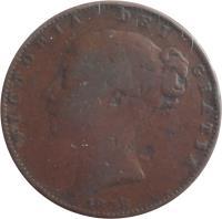 obverse of 1 Farthing - Victoria - 1'st Portrait (1838 - 1864) coin with KM# 725 from United Kingdom. Inscription: VICTORIA DEI GRATIA 1843