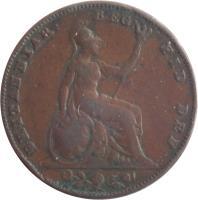 reverse of 1 Farthing - Victoria - 1'st Portrait (1838 - 1864) coin with KM# 725 from United Kingdom. Inscription: BRITANNIAR: REG: FID: DEF: