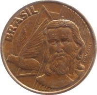 obverse of 5 Centavos (1998 - 2014) coin with KM# 648 from Brazil. Inscription: BRASIL TIRADENTES