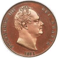 obverse of 1/2 Penny - William IV (1831 - 1837) coin with KM# 706 from United Kingdom. Inscription: GULIELMUS IIII DEI GRATIA 1831