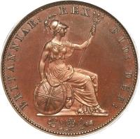 reverse of 1/2 Penny - William IV (1831 - 1837) coin with KM# 706 from United Kingdom. Inscription: BRITANNIAR: REX FID: DEF: