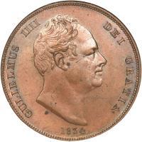 obverse of 1 Penny - William IV (1831 - 1837) coin with KM# 707 from United Kingdom. Inscription: GULIELMUS IIII DEI GRATIA 1837