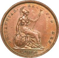 reverse of 1 Penny - William IV (1831 - 1837) coin with KM# 707 from United Kingdom. Inscription: BRITANNIAR: REX FID: DEF: