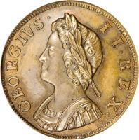 obverse of 1 Farthing - George II (1730 - 1739) coin with KM# 572 from United Kingdom. Inscription: GEORGIVS · II · REX ·