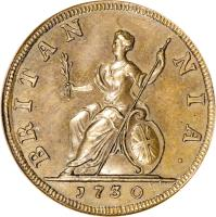 reverse of 1 Farthing - George II (1730 - 1739) coin with KM# 572 from United Kingdom. Inscription: BRITAN NIA · 1730