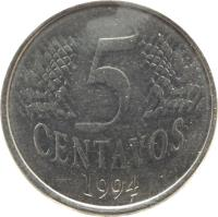 reverse of 5 Centavos (1994 - 1997) coin with KM# 632 from Brazil. Inscription: 5 CENTAVOS 1994