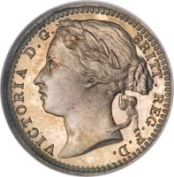 obverse of 1/3 Farthing - Victoria - 1'st Portrait (1866 - 1888) coin with KM# 750 from United Kingdom. Inscription: VICTORIA D. G. BRITT. REG. F. D.