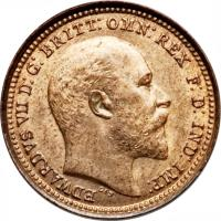obverse of 1/3 Farthing - Edward VII (1902) coin with KM# 791 from United Kingdom. Inscription: EDWARDVS VII D: G: BRITT: OMN: REX F. D. IND: IMP: