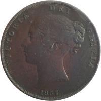 obverse of 1 Penny - Victoria - 1'st Portrait (1841 - 1860) coin with KM# 739 from United Kingdom. Inscription: VICTORIA DEI GRATIA 1858